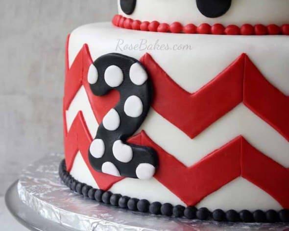 Chevron on Minnie Mouse Cake