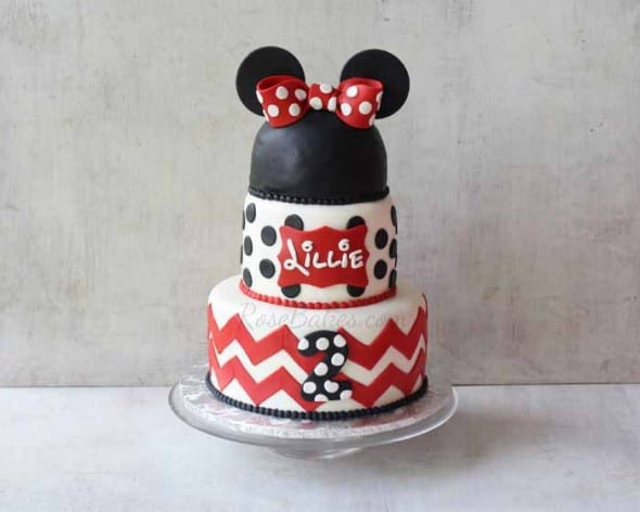 Minnie Mouse Cake with Chevron and Polka Dots