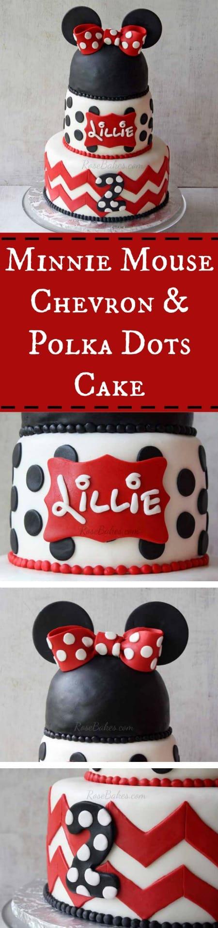 Minnie Mouse Chevron & Polka Dots Cake