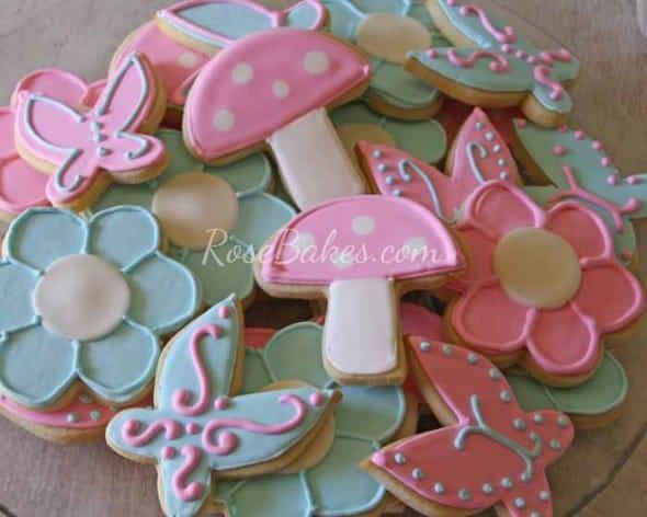 Mushrooms Flowers Butterflies Sugar Cookies