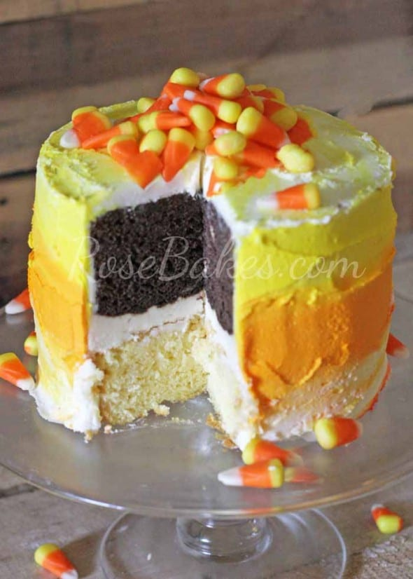 Ombre Candy Corn Cake Cut