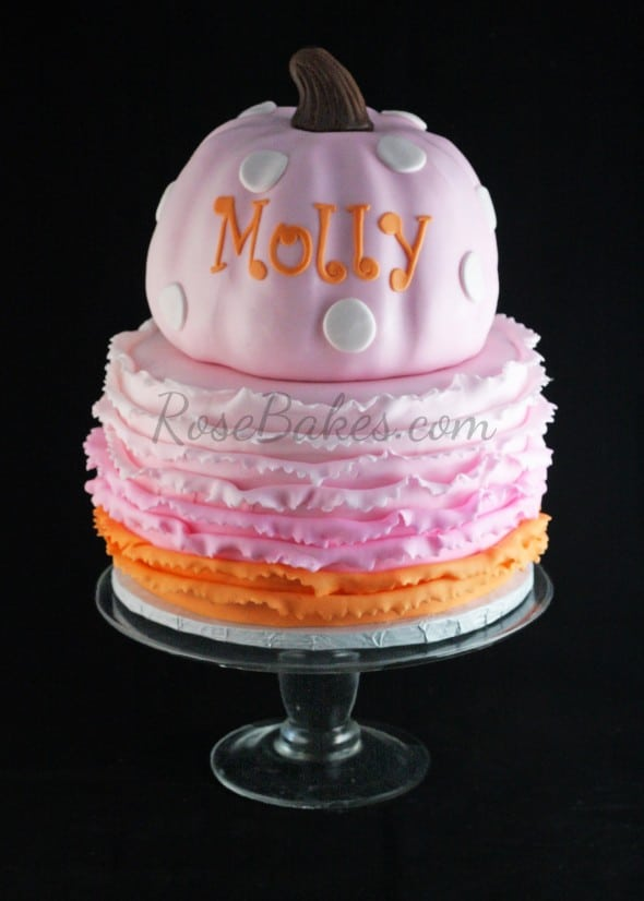 Pink Pumpkin Cake with Ombre Pink and Orange Ruffles