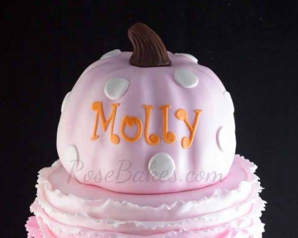 Pink and Orange Ombre Ruffles Pumpkin Cake Top