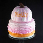 Pink and Orange Ombre Ruffles Pumpkin Cake small