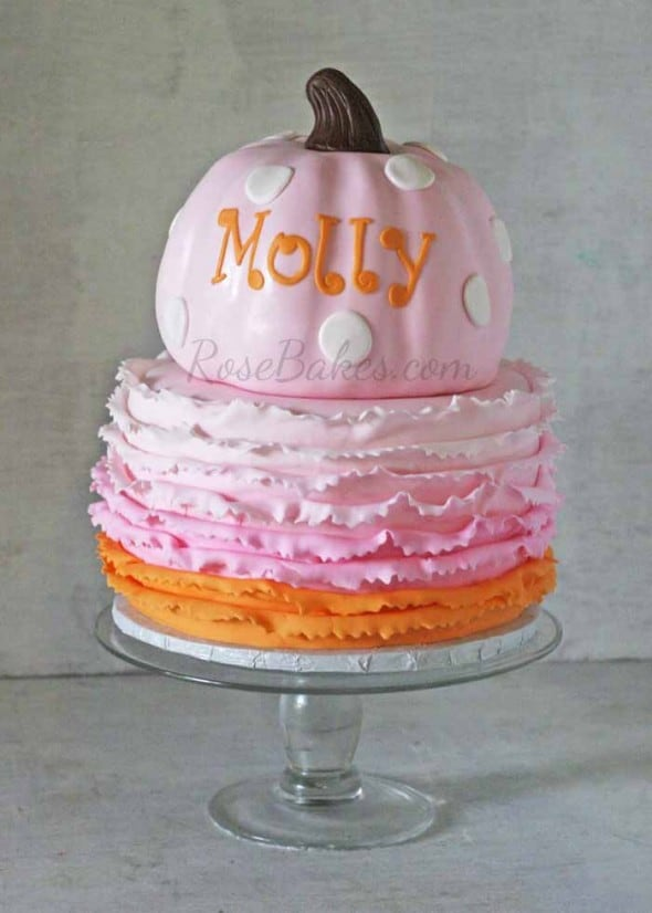 Pink Pumpkin Cake With Ombre Ruffles And Some Party Pics