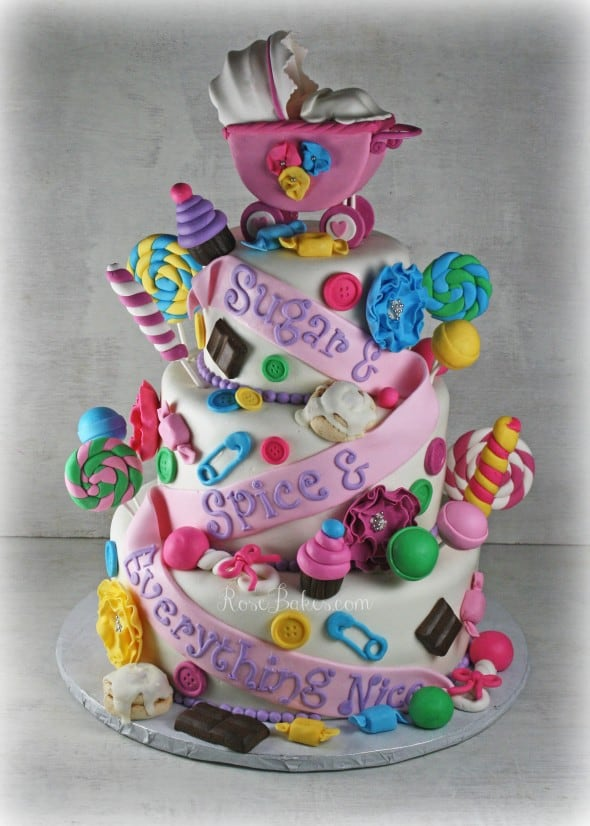 Sugar & Spice & Everything Nice Baby Shower Cake Faded WM