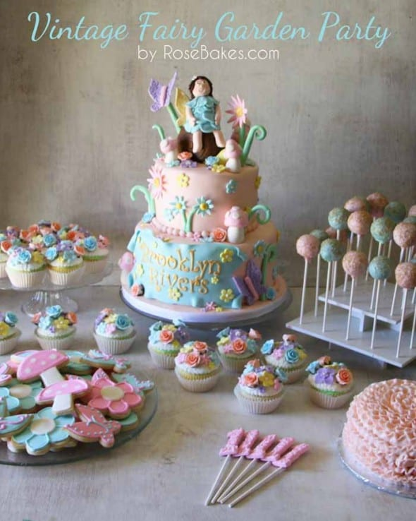 Vintage Fairy Garden Party Cake Cucpakes Smash Cake