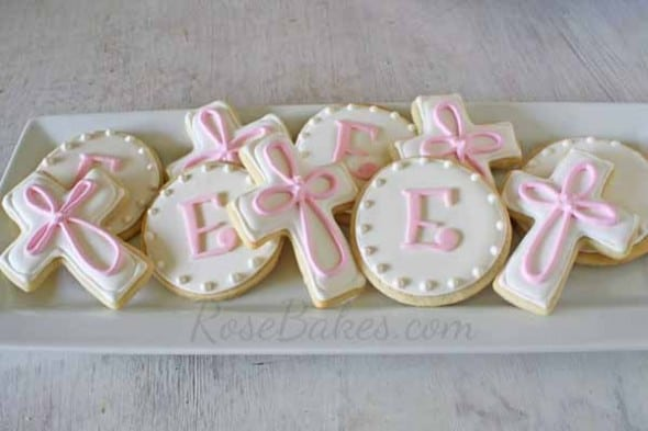 Baby Girl Baptism Cake Cookies And Cake Pops Rose Bakes