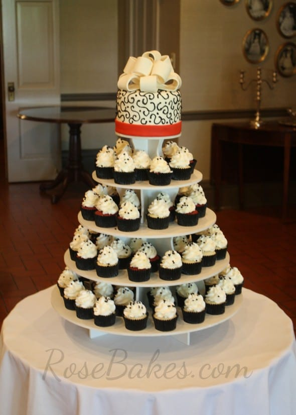 red and white wedding cake cupcakes black and white wedding cake and cupcake tower 19097