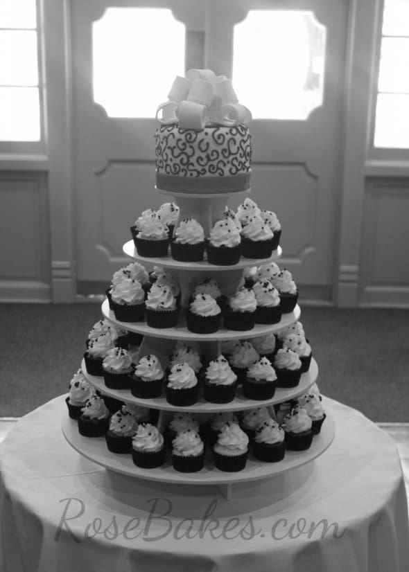 Red, Black and White Wedding Cake and Cupcake Tower - Rose Bakes