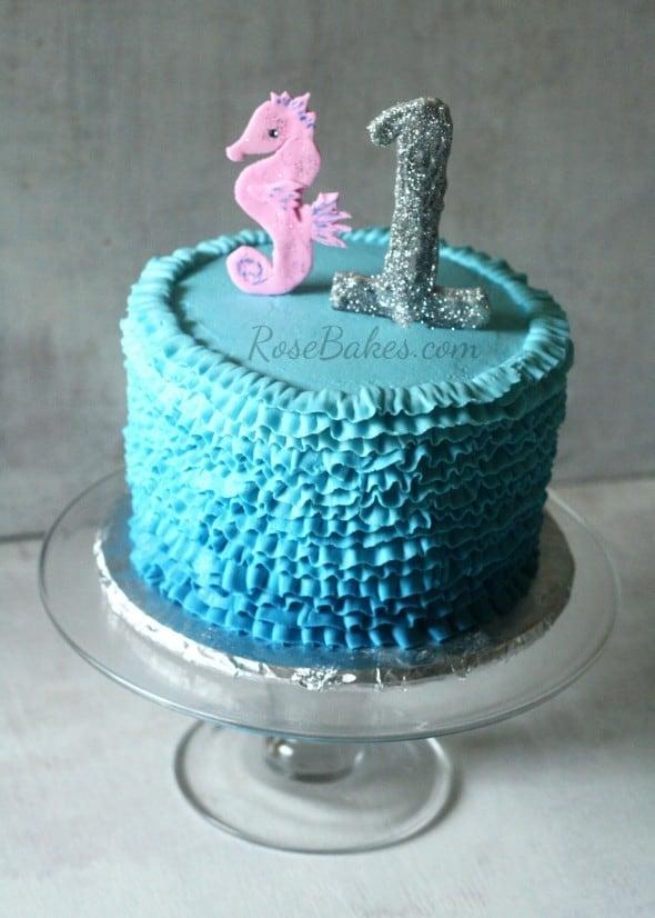 Blue Ombre Ruffles Seahorse Under the Sea Cake