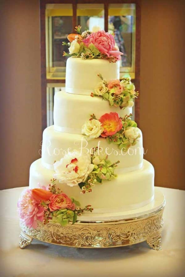 Cascading Flowers White Wedding Cake WM