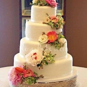 Cascading Flowers White Wedding Cake wm2