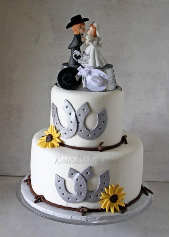 Western Wedding Cake Rose Bakes