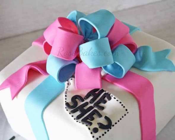 Gender Reveal Gift Cake with Pink and Blue Bow