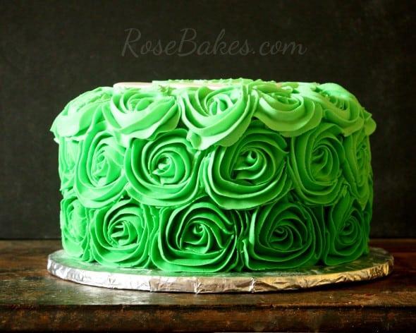 Green Ombre Buttercream Roses Cake