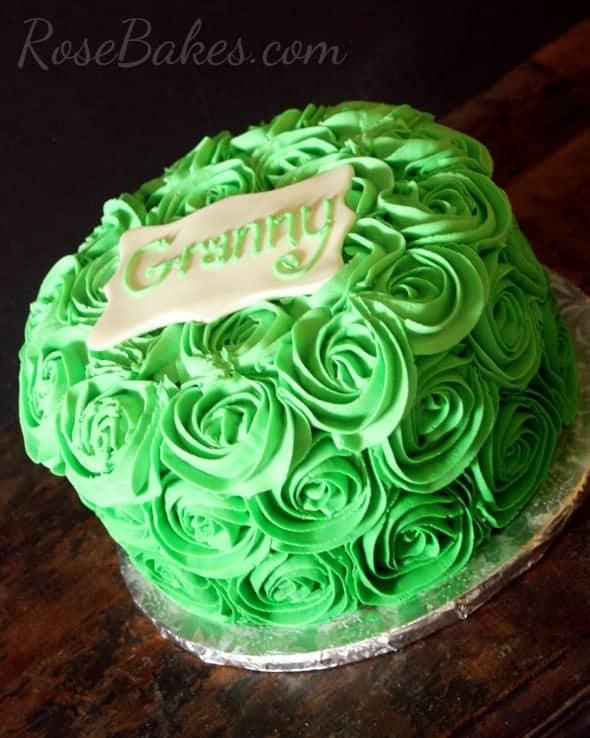 Green Ombre Buttercream Roses Cake for Granny
