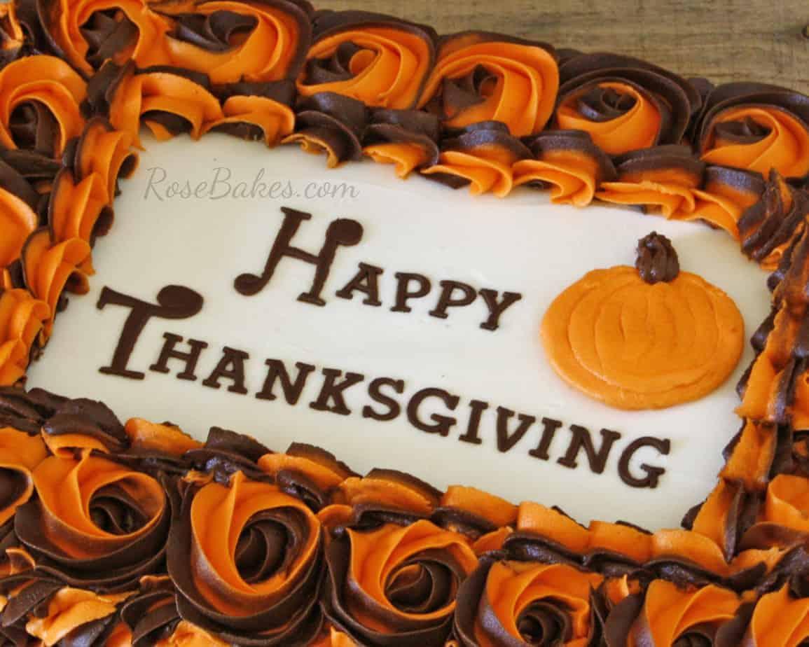 Happy Thanksgiving Cake Rose Bakes