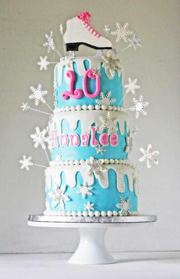 Winter Wonderland Ice Skating Cake - Rose Bakes