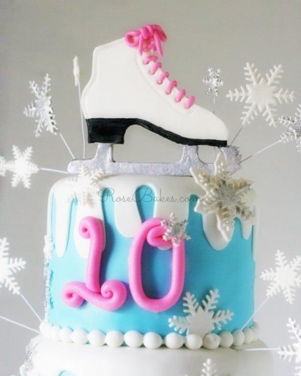 Ice Skating Winter Wonderland Cake Top