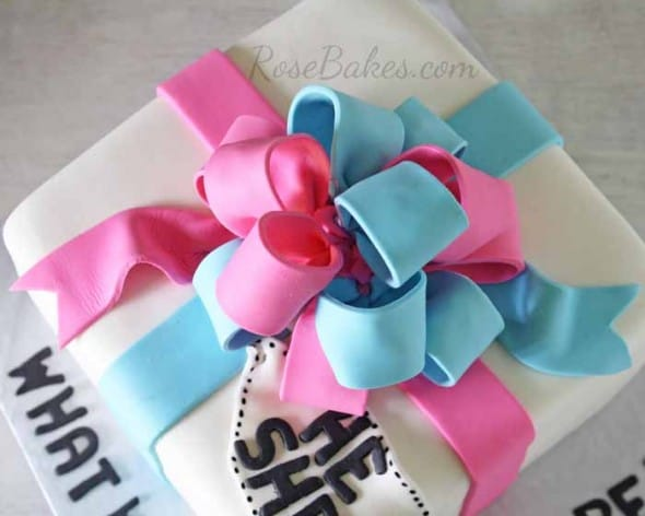 Pink and Blue Gender Reveal Cake