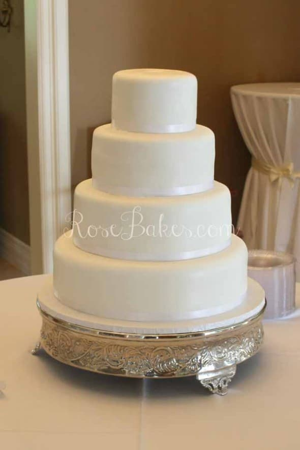 White Wedding Cake with Ribbons