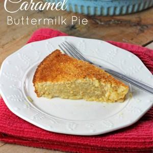 Crustless Caramel Buttermilk Pie