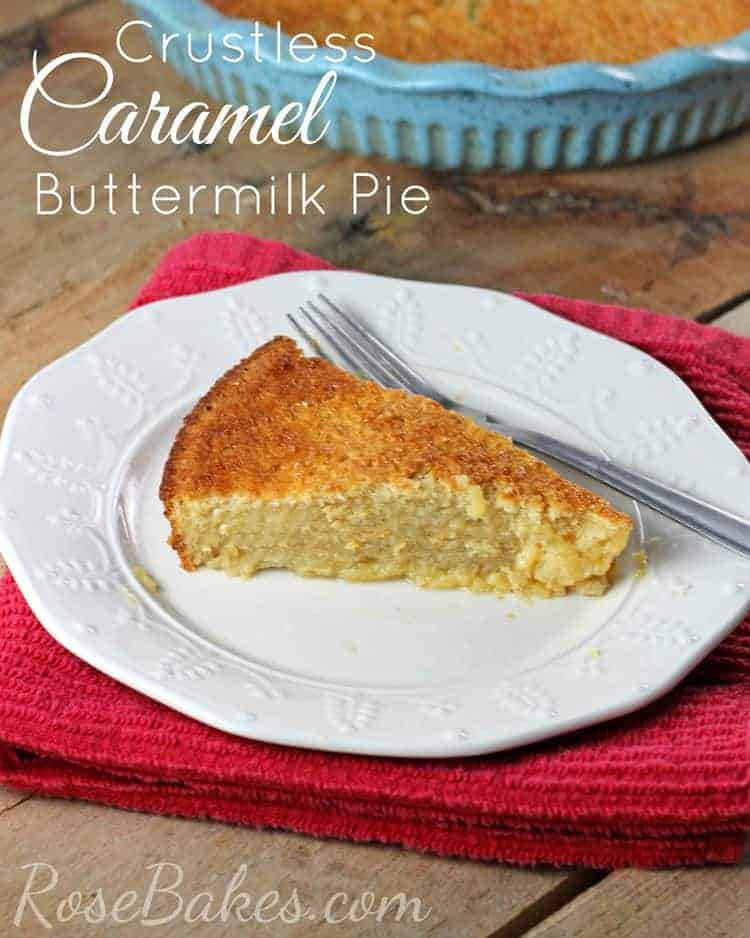 Crustless Caramel Buttermilk Pie