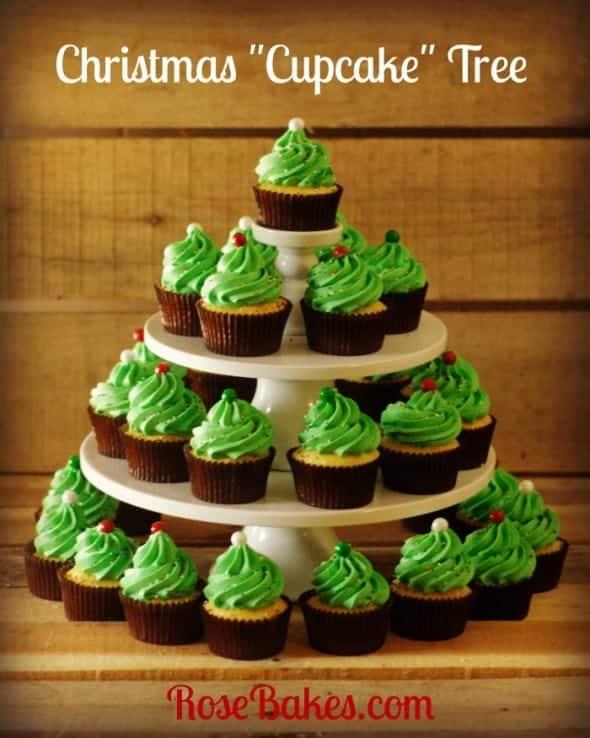 Christmas cupcake tree rose bakes