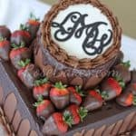 Dark Chocolate Grooms Cake with Chocolate Buttercream Ganache Strawberries