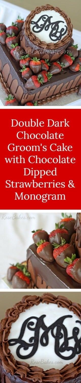 Double Dark Chocolate Groom's Cake with Chocolate Dipped Strawberries & Monogram   RoseBakes.com