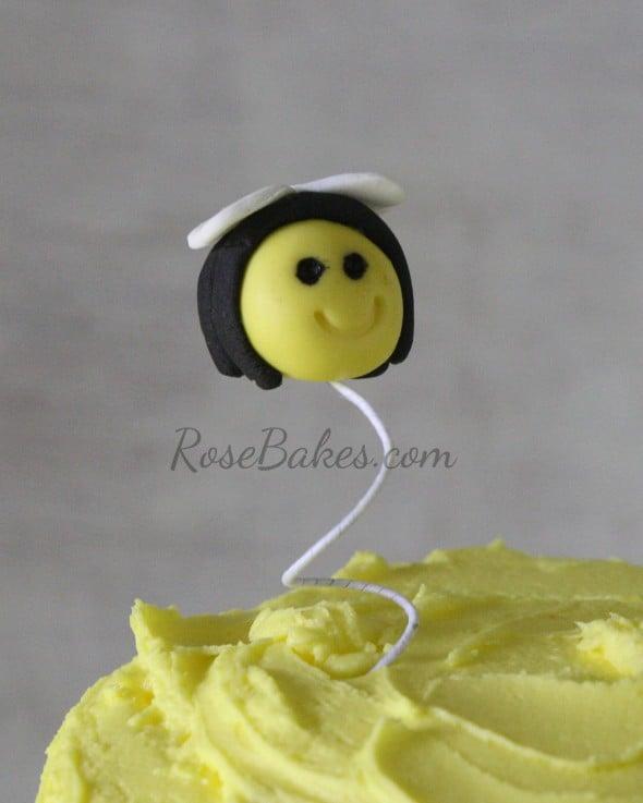 Fondant Bee on Beehive Cake
