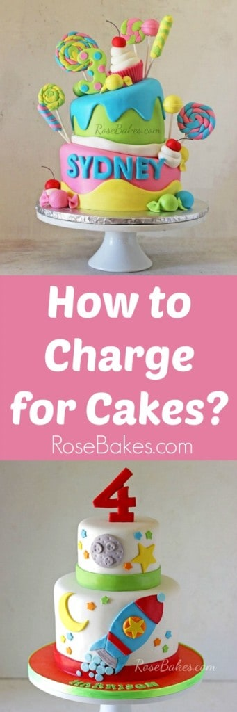 How to Charge for Cakes Pin image with text and cakes