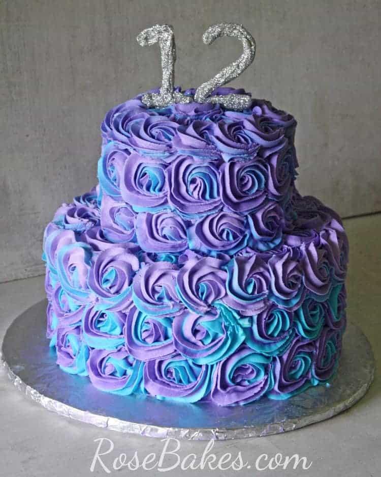 Purple Amp Teal Swirled Buttercream Roses Cake Rose Bakes