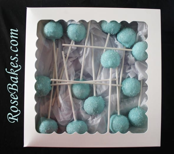 Baby Blue Cake Pops Boxed Up