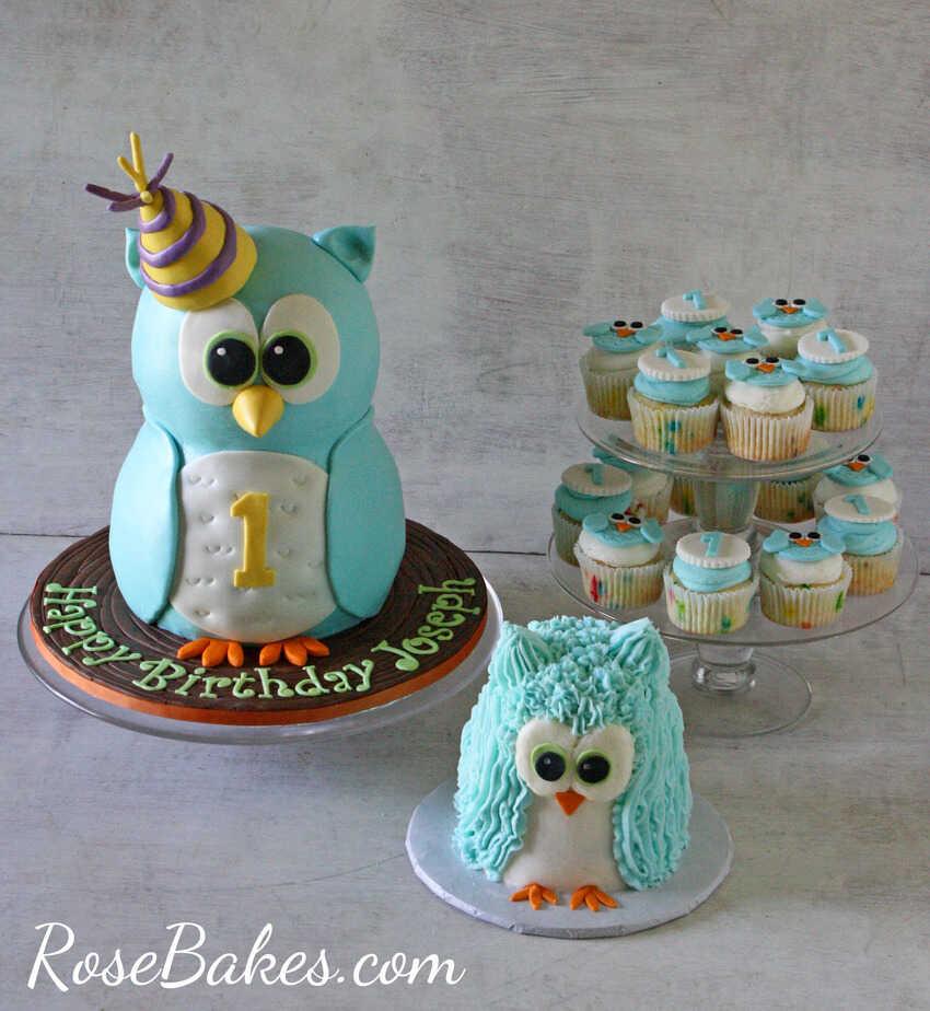 Wondrous Boy 1St Birthday Standing Owl Cake Smash Cake Owl Cupcakes Personalised Birthday Cards Akebfashionlily Jamesorg