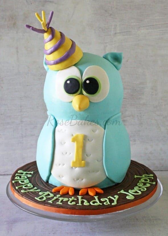 Birthday Cake Photos For 1st Birthday : Boy 1st Birthday : Standing Owl Cake, Smash Cake & Owl ...