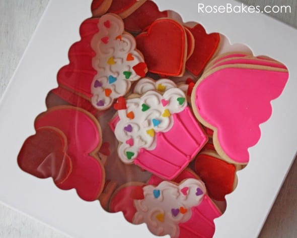 Cupcakes and Hearts Cookies Boxed Up