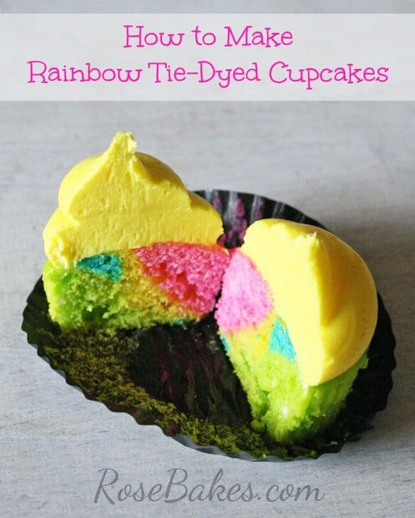 How to make rainbow tie dyed cupcakes rose bakes for How to make tie dye roses