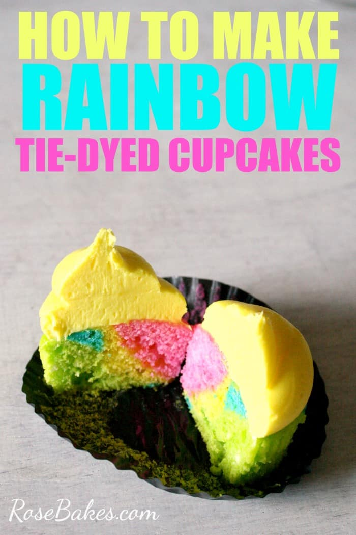 How to Make Rainbow Tie-Dyed Cupcakes by RoseBakes