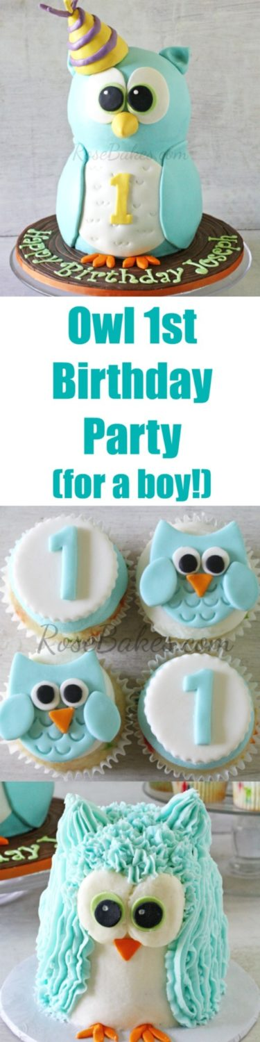 Owl Party for a Boy 1st Birthday by RoseBakes