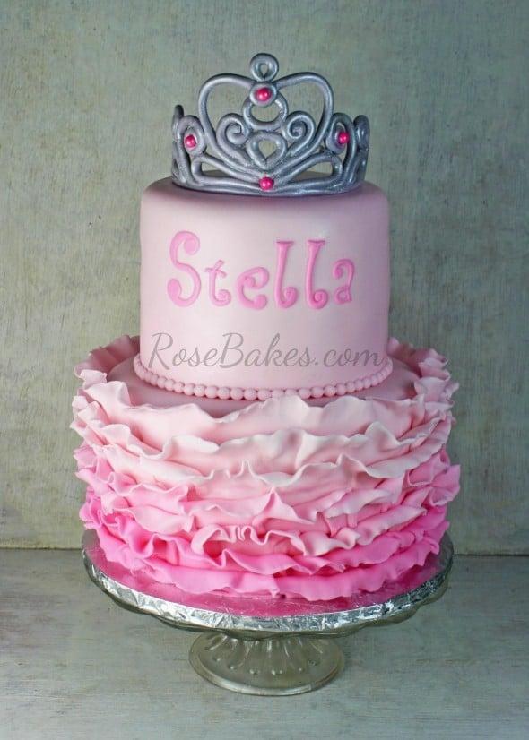 Pink Ombre Ruffles Cake with Princess Tiara