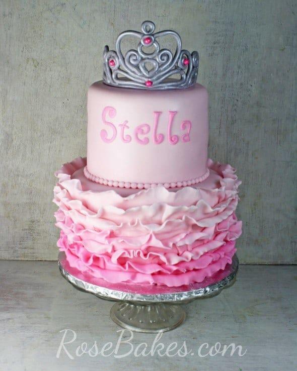 Pink Ombre Ruffles Princess Tiara Cake