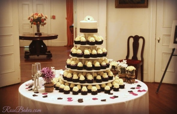 Purple Black and White Wedding Cake and Cupcake Tower