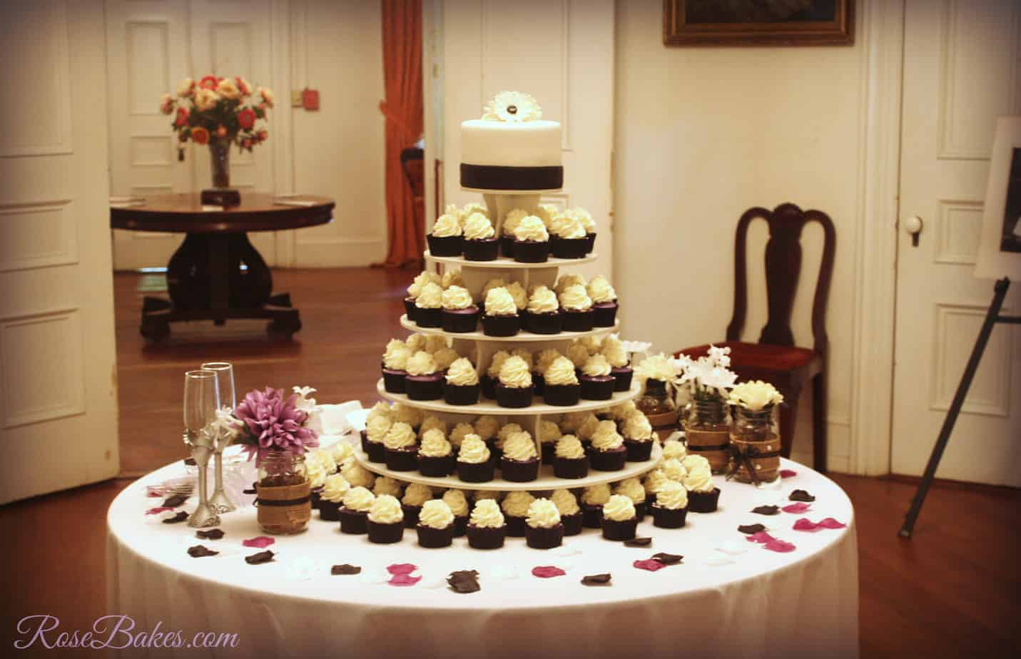 Black, White, & Purple Wedding Cake and Cupcake Tower - Rose Bakes