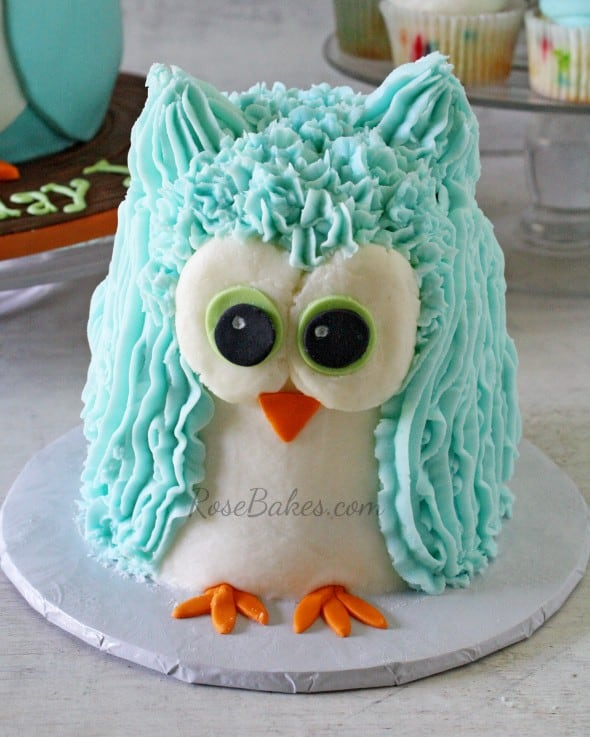 Standing Owl Buttercream Smash Cake WM