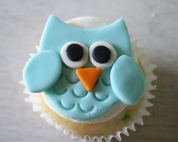 Tiny Blue Owl Cupcake Topper