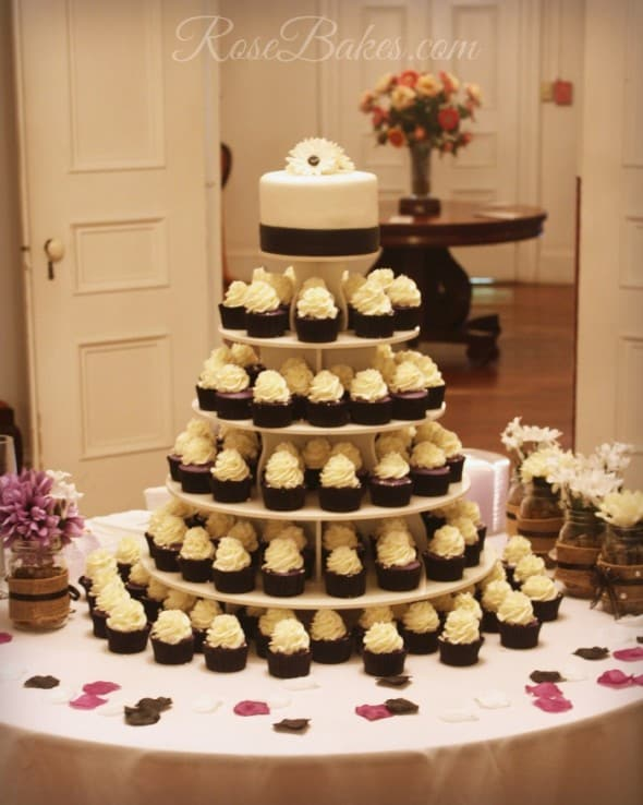 Black White Amp Purple Wedding Cake And Cupcake Tower