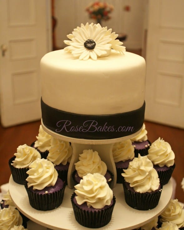 white almond wedding cake cupcakes black white amp purple wedding cake and cupcake tower 27188