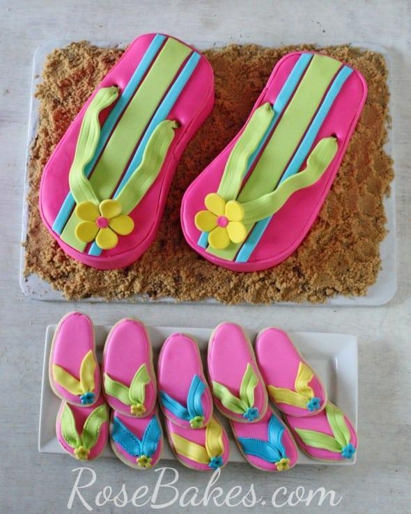 Pink Flip Flops Cake and Cookies